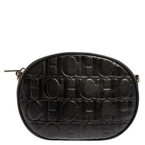 Carolina Herrera Black Embossed Leather Oval Shoulder Bag