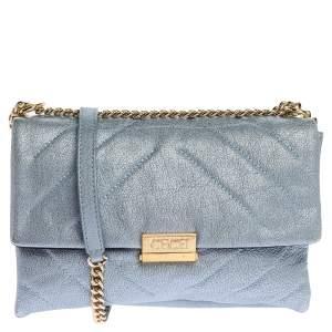 Carolina Herrera Metallic Blue Leather Flap Shoulder Bag