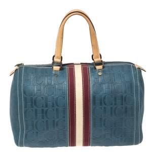 Carolina Herrera Blue Monogram Leather Large Andy Boston Bag