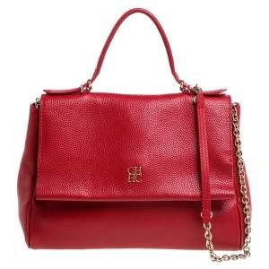 Carolina Herrera Red Leather Minueto Flap Bag