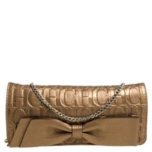 Carolina Herrera Gold Monogram Embossed Leather Bow Shoulder Bag