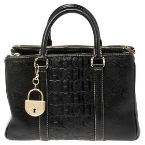 Carolina Herrera Black Monogram Leather Andy Tote