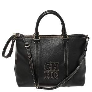 Carolina Herrera Black Leather CHCH Logo Tote