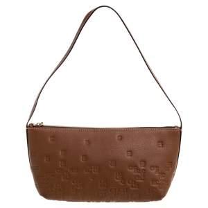 Carolina Herrera Brown Leather Lipstick Baguette Bag