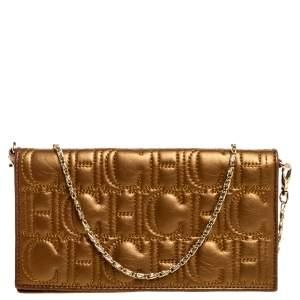 Carolina Herrera Metallic Gold Monogram Leather Chain Clutch