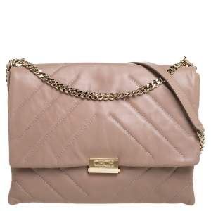 Carolina Herrera Beige Leather Flap Chain Shoulder Bag