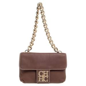 Carolina Herrera Brown Leather Double Flap Chain Bag