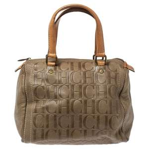 Carolina Herrera Olive Green/Beige Monogram Leather Andy Boston Bag