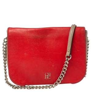 Carolina Herrera Tri Color Leather Flap Chain Shoulder Bag