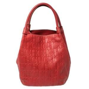 Carolina Herrera Red Monogram Leather Hobo