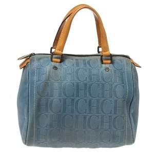 Carolina Herrera Light Blue Embossed Leather Andy Boston Bag