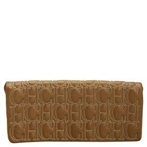Carolina Herrera Bronze Monogram Leather Jerry Clutch