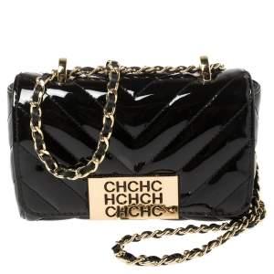 Carolina Herrera Black Chevron Quilt Patent Leather Mini Bimba Chain Bag
