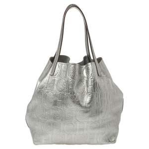 Carolina Herrera Metallic Silver Monogram Leather Matryoshka Tote