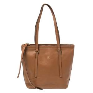 Carolina Herrera Brown Leather Top Zip Tote