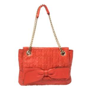 Carolina Herrera Orange Monogram Leather Audrey Shoulder Bag
