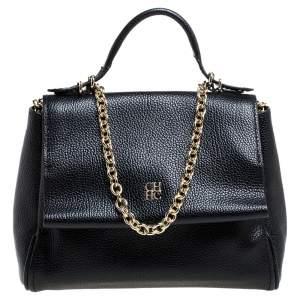Carolina Herrera Black Leather Mini Minuetto Flap Bag