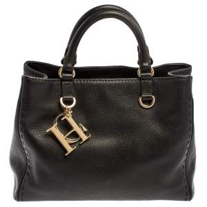 Carolina Herrera Black Leather Charm Tote