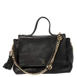 Carolina Herrera Black Leather Flap Tassel Top Handle Bag