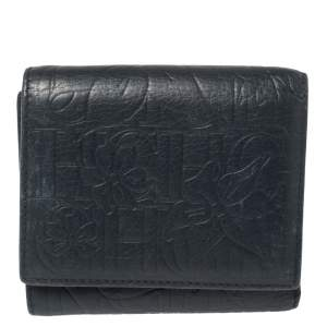Carolina Herrera Navy Blue Monogram Leather Trifold Compact Wallet