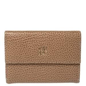 Carolina Herrera Beige Leather Card Holder Wallet