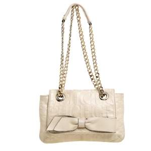 Carolina Herrera Beige Monogram Leather Audrey Shoulder Bag