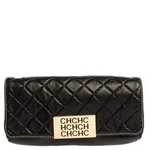 Carolina Herrera Black Quilted Leather Clutch
