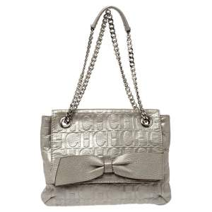 Carolina Herrera Silver Embossed Leather Audrey Shoulder Bag