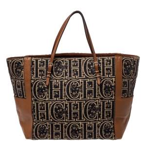 Carolina Herrera Black/Brown Signature Velvet and Leather Tote