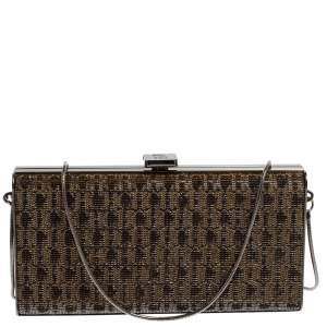 Carolina Herrera Gold Shimmering Jacquard Fabric Chain Clutch