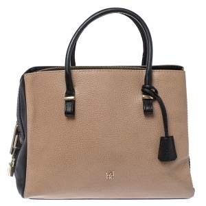Carolina Herrera Black/Beige Leather Zip Tote