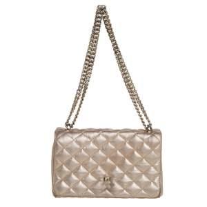 Carolina Herrera Metallic Gold Quilted Leather Flap Chain Shoulder Bag