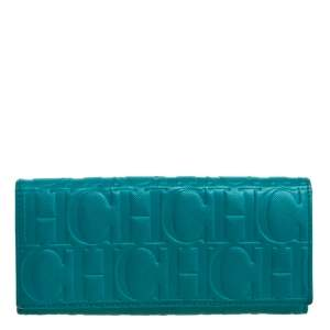 Carolina Herrera Green Monogram Coated Canvas Continental Wallet