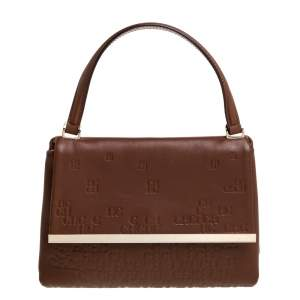 Carolina Herrera Brown Leather Top Handle Bag