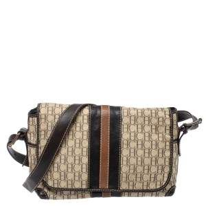 Carolina Herrera Beige/Brown Monogram  Canvas And Leather Flap Shoulder Bag