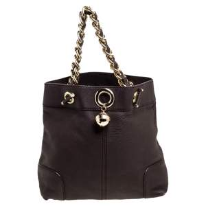 Carolina Herrera Brown Leather Chain Handle Tote