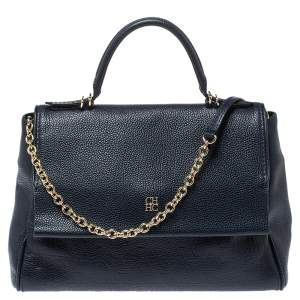 Carolina Herrera Navy Blue  Monogram Embossed Leather Minuetto Flap Top Handle Bag
