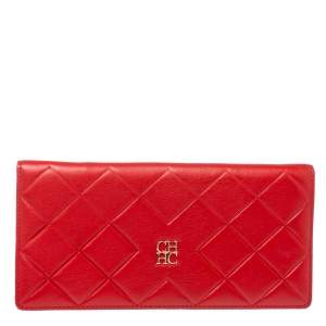 Carolina Herrera Preppy Red Quilted Leather Flap Wallet