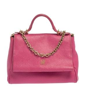 Carolina Herrera Pink Leather Mini Minuetto Top Handle Bag