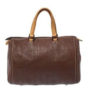 Carolina Herrera Brown Monogram Leather Large Andy Boston Bag