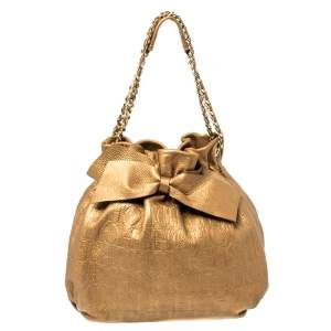 Carolina Herrera Golden Brown Embossed Leather Bow Bucket Shoulder Bag