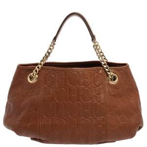 Carolina Herrera Brown Monogram Leather Poppy Hobo
