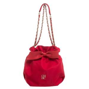 Carolina Herrera Red Nylon and Leather Bow Drawstring Hobo