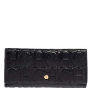 Carolina Herrera Navy Blue Monogram Leather Continental Wallet