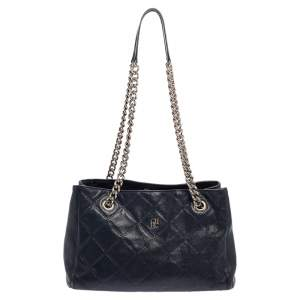 Carolina Herrera Navy Blue Quilted Leather Middle Zip Chain Tote