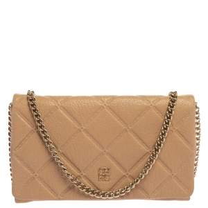 Carolina Herrera Beige Quilted Embossed Leather Flap Chain Clutch