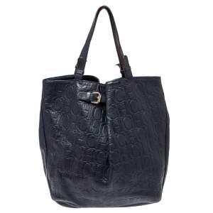 Carolina Herrera Navy Blue Embossed Monogram Leather Buckle Tote