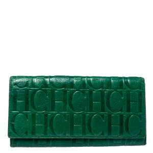Carolina Herrera Green Monogram Leather Oversize Continental Wallet