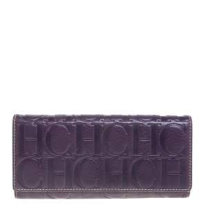 Carolina Herrera Purple Monogram Leather Continental Wallet