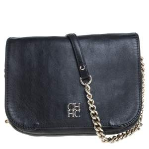 Carolina Herrera Black Leather New Baltazar Flap Shoulder Bag
